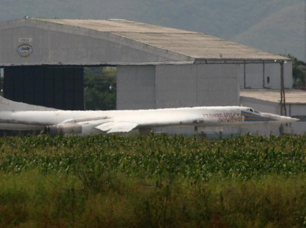 Russia's Tu-160 bomber at the military air base Libertador in Palo Negro, Venezuela, September 11, 2008
