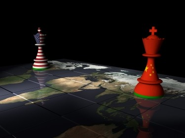 Chessboard map with U.S. and China flag chess pieces