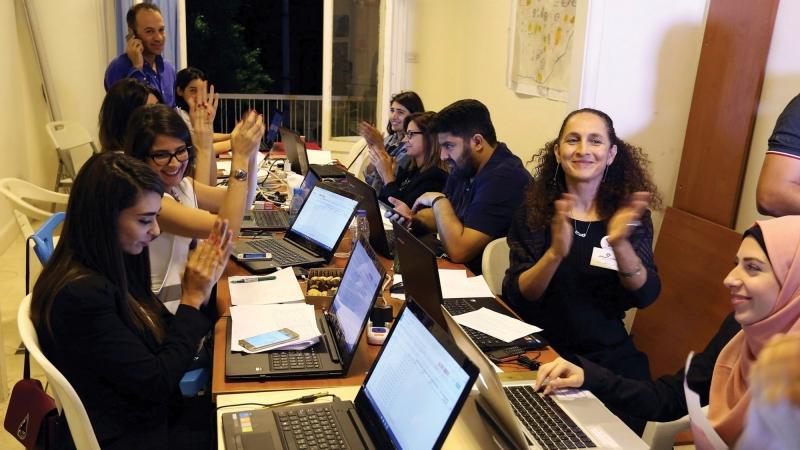 Beirut Madinati candidates and delegates cheer