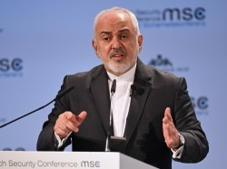 Iran's Foreign Minister Mohammad Javad Zarif speaks during the annual Munich Security Conference in Munich, Germany, February 17, 2019, photo by Andreas Gebert/Reuters