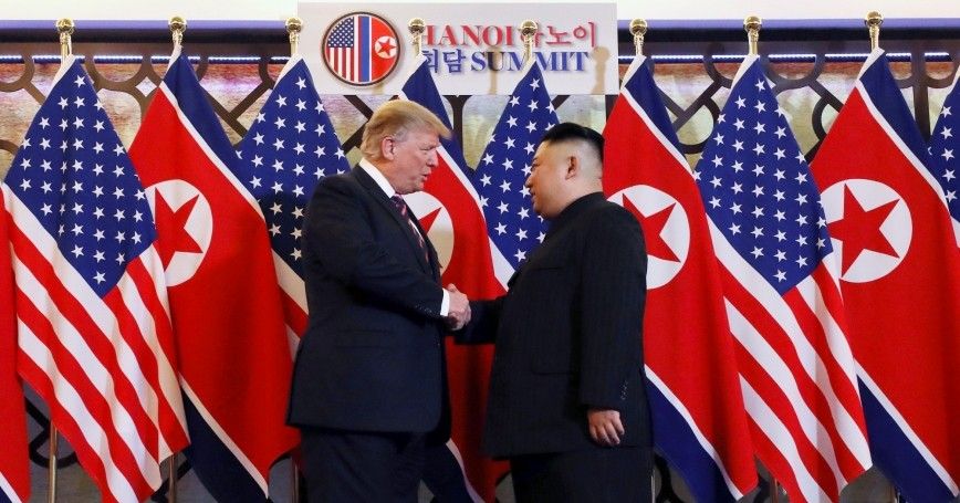U.S. President Donald Trump and North Korean leader Kim Jong Un shake hands before their one-on-one chat during the second U.S.-North Korea summit at the Metropole Hotel in Hanoi, Vietnam, February 27, 2019, photo by Leah Millis/Reuters