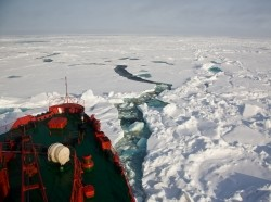 A Russian nuclear icebreaker cuts a path through the Arctic photo by SeppFriedhuber/Getty Images
