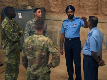 U.S. Air Force 36th Contingency Response Group Airmen speak with India Air Force subject matter experts at Andersen Air Force Base, Guam, July 23, 2018, photo by Airman 1st Class Gerald Willis/U.S. Air Force