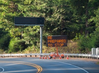 """A road work sign on California Highway 101 north warns, """"be prepared to stop"""""""