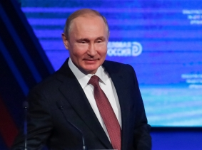 Russian President Vladimir Putin attends a business forum, Delovaya Rossiya, in Moscow, February 6, 2019, photo by Maxim Shemetov/Reuters