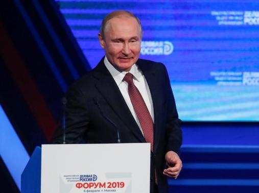 Russian President Vladimir Putin attends a business forum, Delovaya Rossiya, in Moscow, Russia, February 6, 2019