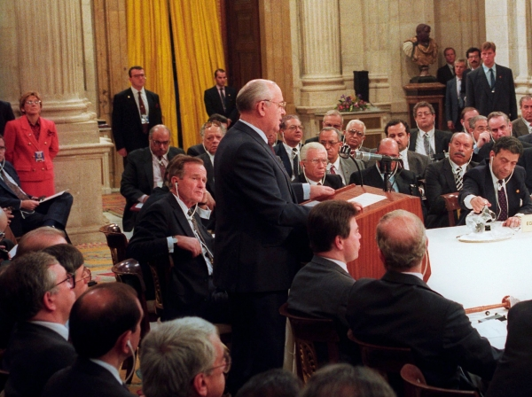 Soviet President Mikhail Gorbachev addresses the first meeting of the Madrid Peace Conference in Madrid, Spain, October 30, 1991