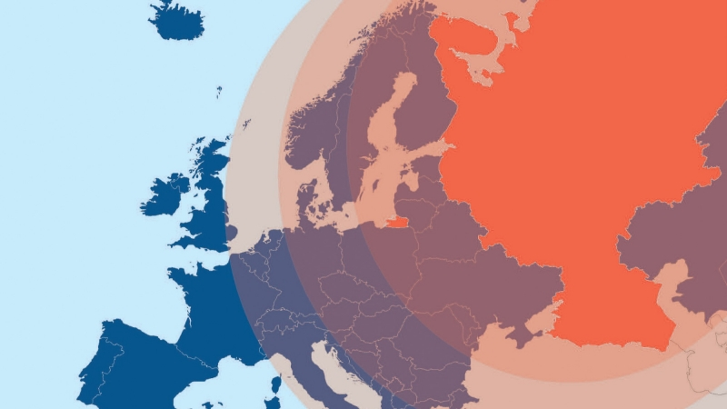 A map depicting Russian influence over Europe