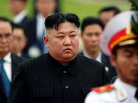 North Korean leader Kim Jong Un attends wreath laying ceremony at Ho Chi Minh Mausoleum in Hanoi, Vietnam March 2, 2019, photo by Jorge Silva/Pool/Reuters