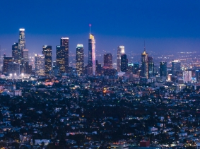 Los Angeles skyline at night, photo by Joecho-16/Getty Images