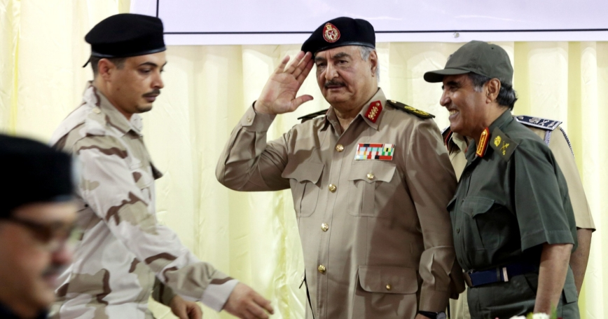 Khalifa Haftar salutes as he participates in the General Security conference, in Benghazi, Libya, October 14, 2017, photo by Esam Al-Fetori/Reuters