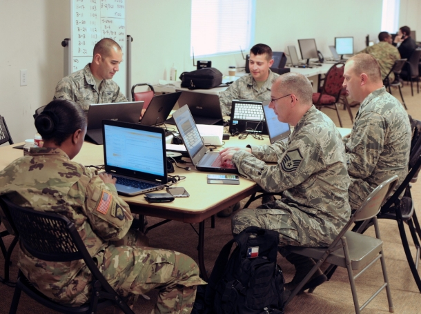 Members of the Texas Army and Air National Guard support Exercise Cyber Shield 17 at Camp Williams, Utah, May 2, 2017, photo by Col. Wayde Minami/U.S. Air National Guard