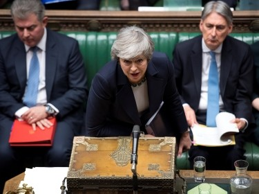 Britain's Prime Minister Theresa May speaks in Parliament ahead of a Brexit vote, in London, Britain, March 13, 2019, photo by UK Parliament/Jessica Taylor/Handout via Reuters