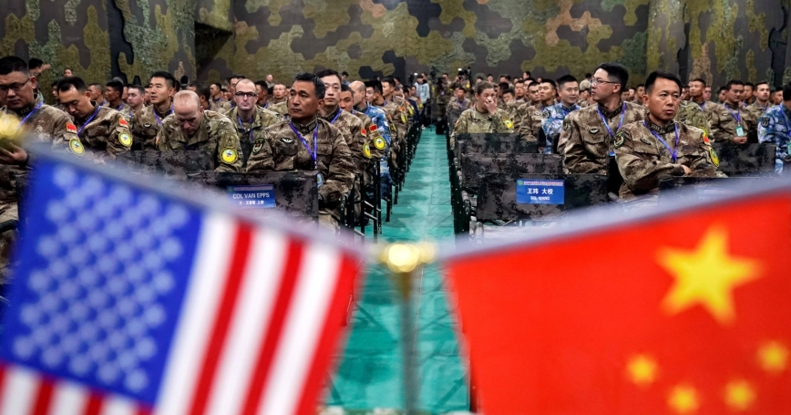 U.S. Army and Chinese PLA military personnel attend a disaster management exchange near Nanjing, China, November 17, 2018, photo by Aly Song/Reuters