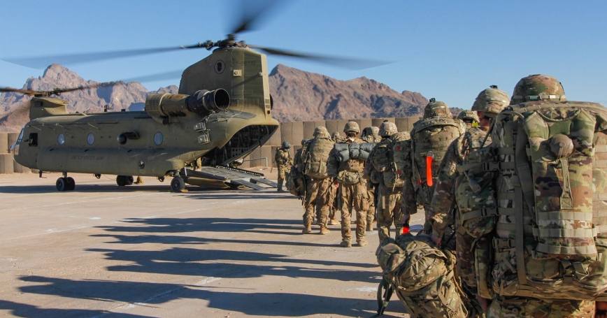 Soldiers assigned to the 101st Resolute Support Sustainment Brigade load onto a helicopter to head out and execute missions across Afghanistan, Jan. 15, 2019, photo by 1st Lt. Verniccia Ford/U.S. Department of Defense