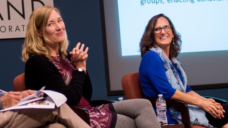 Krishna Kumar, Jill Luoto, and Kathryn Pitkin Derose discuss translating international development research into impact on an International Development Speaker Series panel, September 21, 2017