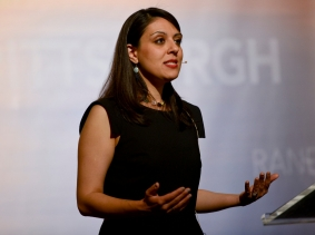 RAND physician policy researcher Tisamarie Sherry discusses the U.S. opioid crisis at a RAND event in Pittsburgh, April 10, 2019, photo by Michael Reed Photography