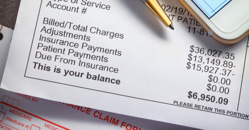 A medical bill showing balance due, photo by DNY59/Getty Images