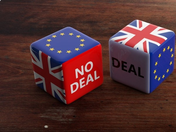 Dice with UK and EU flags, and no deal and deal on sides, Photo by Rawf8/Getty Images