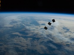 Three tiny satellites photographed by an Expedition 33 crew member on the International Space Station, October 4, 2012, photo by NASA