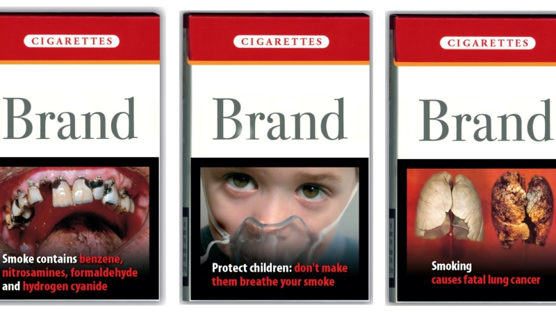 A combination picture shows packs of cigarettes, unveiled by European Health and Consumer Protection Commissioner David Byrne at a news conference in Brussels October 22, 2004, photo by Stringer/Reuters