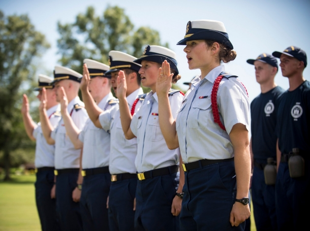 The U.S. Coast Guard Academy Class of 2019 reports to campus on R-Day, June 29, 2015, photo by PO2 Cory J. Mendenhall/U.S. Coast Guard