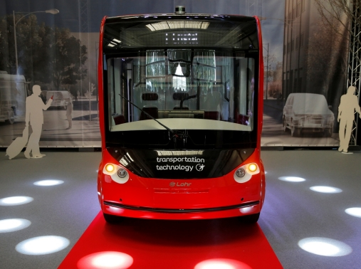 The new i-Cristal electric autonomous shuttle is presented at the Lohr Group headquarters factory in Duppigheim near Strasbourg, France, September 10, 2018