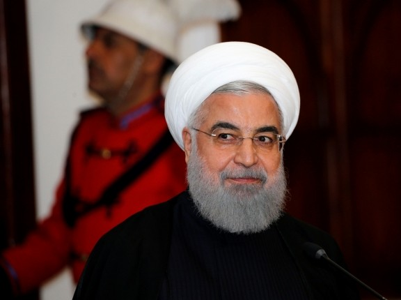 Iranian President Hassan Rouhani at a news conference in Baghdad, Iraq March 11, 2019, photo by Thaier al-Sudani/Reuters