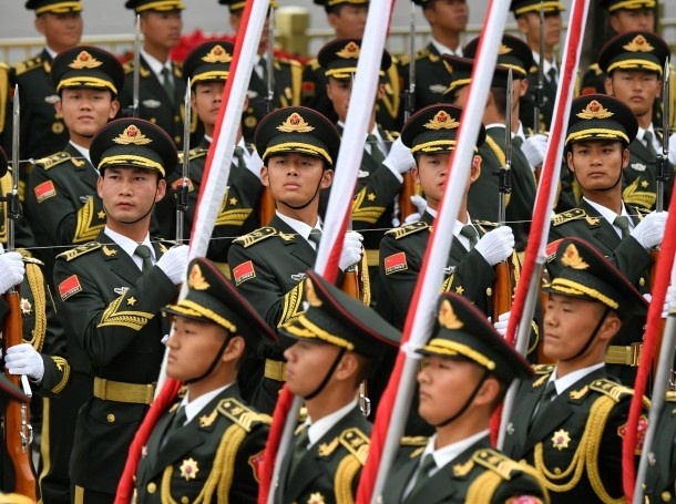 Chinese People's Liberation Army (PLA) honor guards at the Great Hall of the People in Beijing, China, April 28, 2019, photo by Parker Song/Reuters