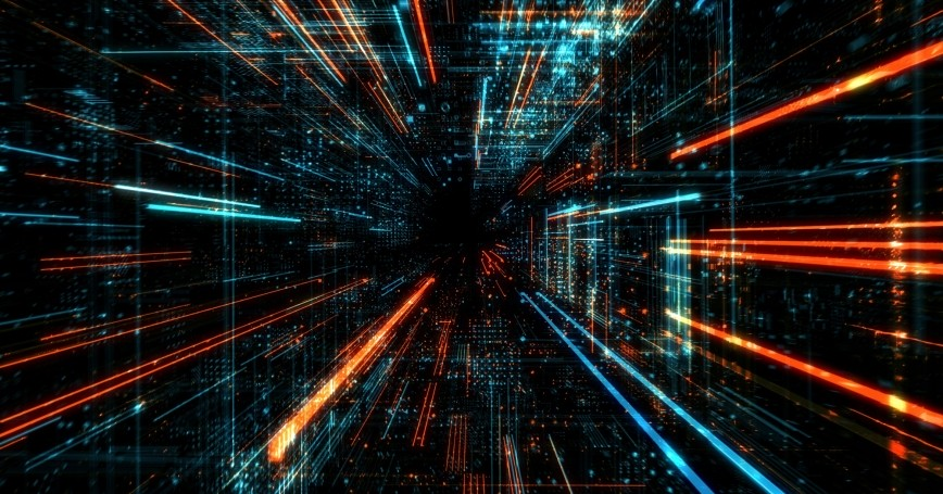 Motion blur. Abstract technology and cyber space environment, photo by Quardia/Getty Images