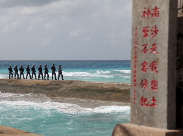 Chinese People's Liberation Army Navy soldiers patrol in the Spratly Islands, February 9, 2016, photo by China Stringer Network/Reuters