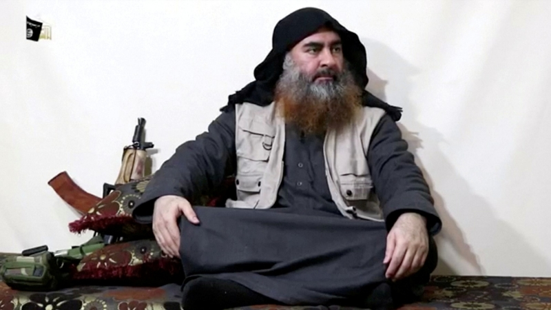 A bearded man appearing to be Islamic State leader Abu Bakr al-Baghdadi speaks in a video released April 29, 2019, photo by Islamic State Group/Al Furqan Media Network/Reuters TV