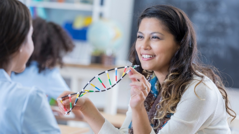 A school teacher talks with a student, holding a DNA helix model, photo by Steve Debenport/Getty Images
