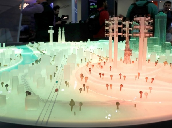 A portion of a city model glows red indicating a cyber threat to infrastructure at the DarkMatter booth during the Black Hat information security conference in Las Vegas, Nevada, July 26, 2017