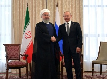 Iran's President Hassan Rouhani and Russia's President Vladimir Putin attend a meeting on the sidelines of the Shanghai Cooperation Organisation summit in Bishkek, Kyrgyzstan, June 14, 2019, photo by Sputnik/Alexei Druzhinin/Kremlin via Reuters