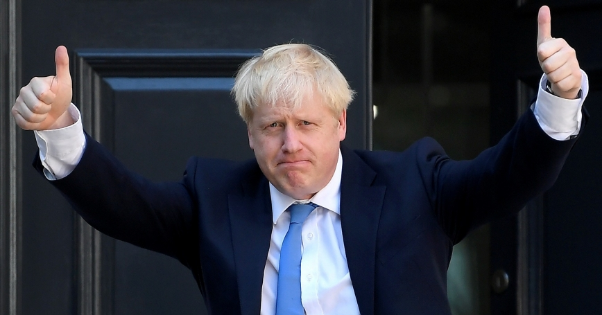 Boris Johnson arrives at the Conservative Party headquarters after being announced as Britain's next prime minister, London, July 23, 2019, photo by Toby Melville/Reuters
