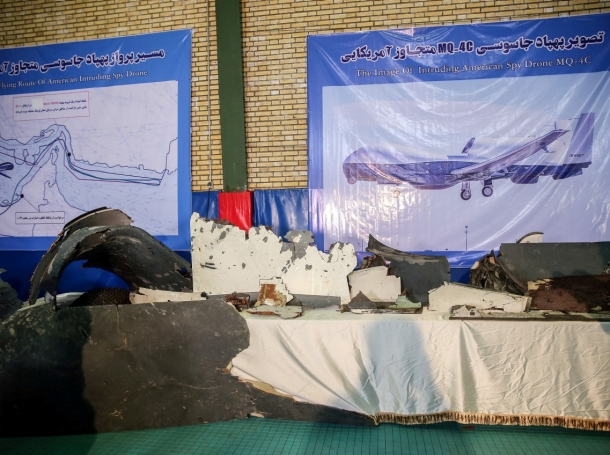 The purported wreckage of an American drone is seen displayed by the Islamic Revolution Guards Corps (IRGC) in Tehran, Iran, June 21, 2019, photo by Meghdad Madadi/Tasnim News Agency via Reuters
