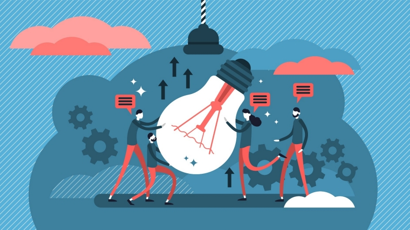 People working together to implement an idea, illustration by VectorMine/Adobe Stock
