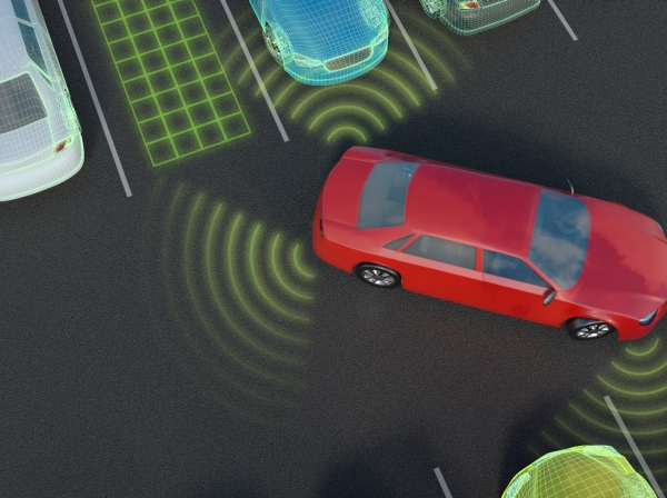 Car parking with autonomous self-driving parking assistant, photo by vchal/Getty Images