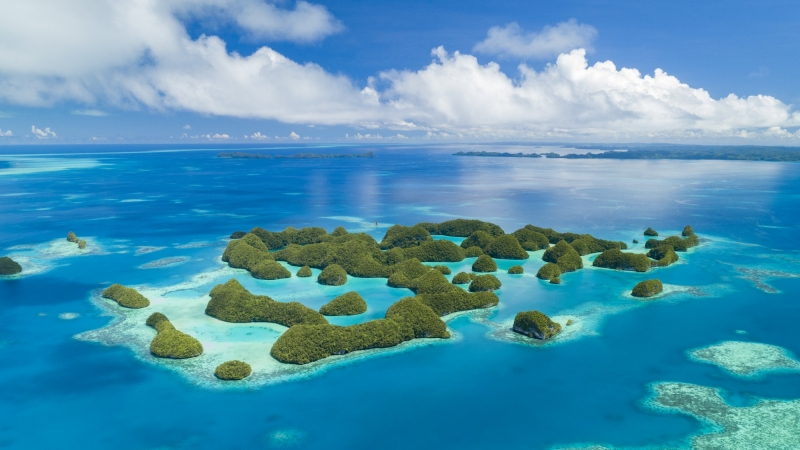 Aerial view of islands in Palau, photo by Lightning Strike Pro/Adobe Stock