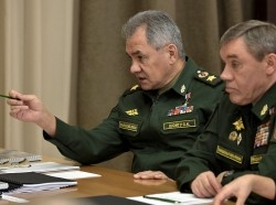 Russian Defence Minister Sergei Shoigu (left) and Chief of the General Staff, First Deputy Minister Valery Gerasimov, before a meeting with Russian Defence Ministry leadership and defense industry heads photo courtesy of Office of the Russian President/ Creative Commons Attribution 4.0 International