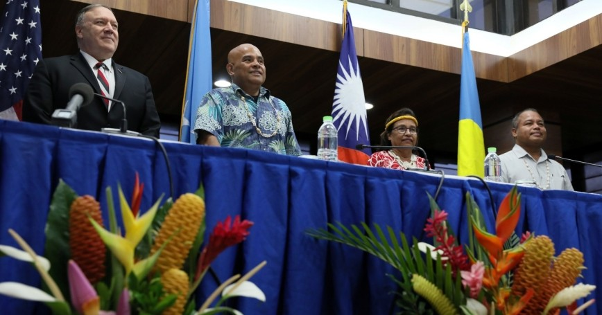 U.S. Secretary of State Mike Pompeo, Micronesia President David Panuelo, Marshall Islands President Hilda Heine, and Palau's Vice President Raynold Oilouch hold a news conference, Kolonia, Micronesia, August 5, 2019, photo by Jonathan Ernst/Reuters