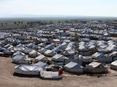 The al-Hol displacement camp in Hasaka governorate, Syria, holds thousands of detainees linked to ISIS, April 2, 2019, photo by Ali Hashisho/Reuters