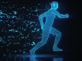 Running 3d wireframe man in an abstract environment, photo by imaginima/Getty Images