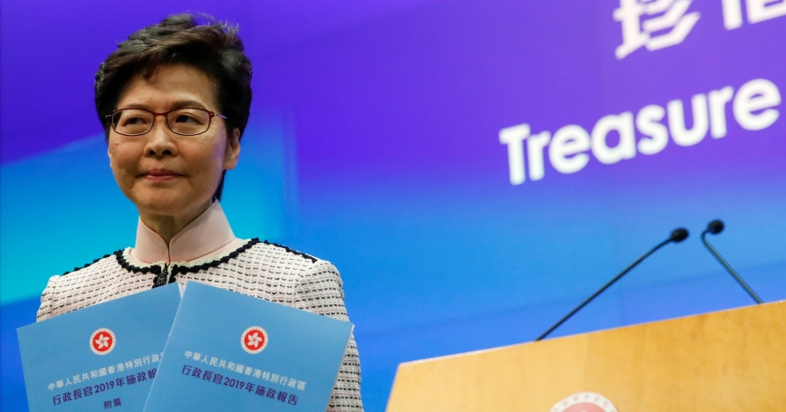 Hong Kong Chief Executive Carrie Lam attends a news conference after her policy address for 2019, in Hong Kong, China, October 16, 2019, photo by Umit Bektas/Reuters