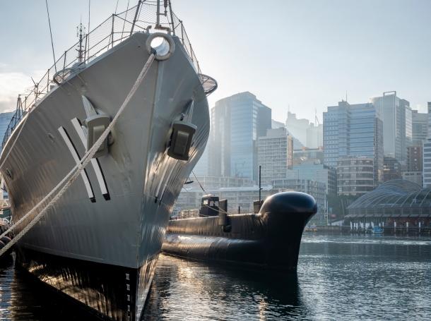 Destroyer HMAS Vampire moored alongside submarine HMAS Onslow, Sydney, Australia, May 22, 2017, photo by sfe-co2/Getty Images