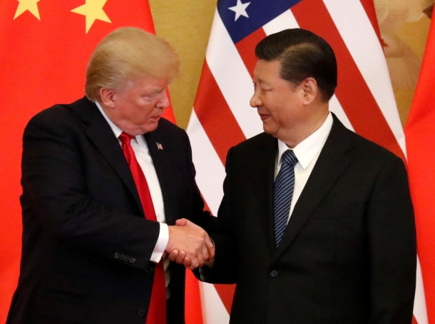 U.S. President Donald Trump and China's President Xi Jinping at the Great Hall of the People in Beijing, China, November 9, 2017, photo by Jonathan Ernst/Reuters