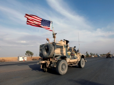 A convoy of U.S. vehicles is seen after withdrawing from northern Syria, in Erbil, Iraq October 21, 2019, photo by  Azad Lashkari/Reuters