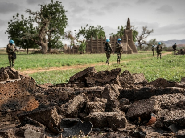 """Senegalese peacekeepers during a military operation in the Mopti region of Mali, July 5, 2019, <a href=""""https://www.flickr.com/photos/minusma/48289319002/in/photostream/"""">photo</a> by Gema Cortes/MINUSMA / <a href=""""https://creativecommons.org/licenses/by-nc-sa/2.0/"""">CC BY-NC-SA 2.0</a>"""
