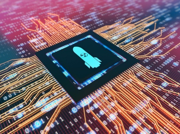 Circuit board with chip with image of missile, photo by guirong hao/Getty Images